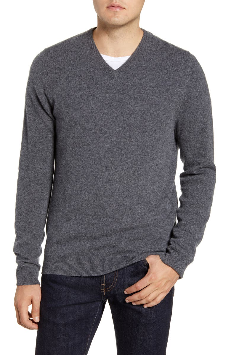 NORDSTROM Cashmere V-Neck Sweater, Main, color, GREY SHADE HEATHER
