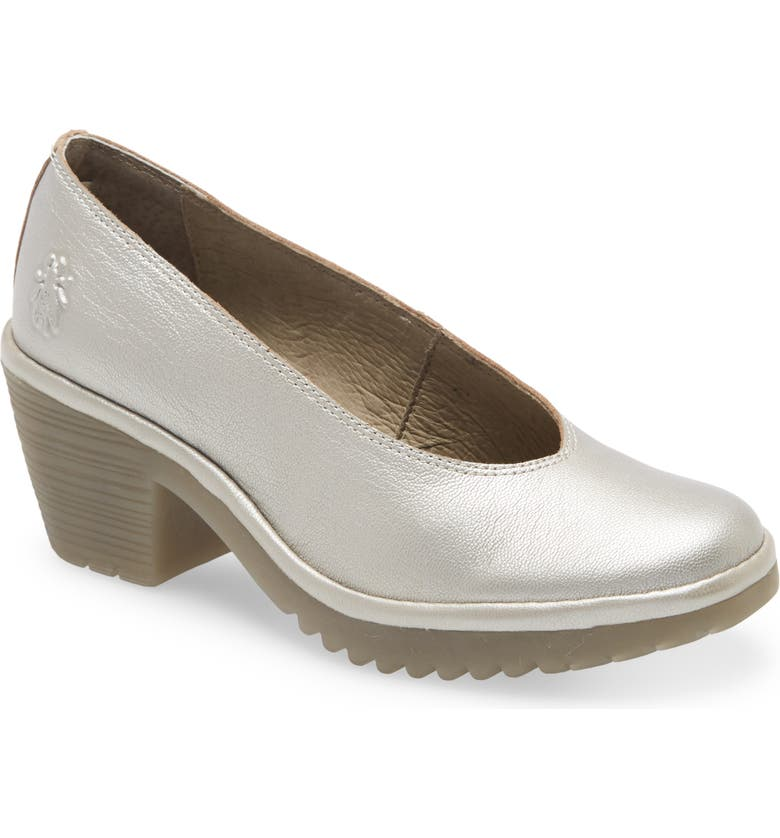 FLY LONDON Walo Pump, Main, color, SILVER BORGOGNA LEATHER