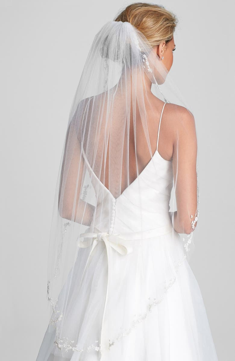 WEDDING BELLES NEW YORK 'Mary Kate' Embroidered Veil, Main, color, IVORY