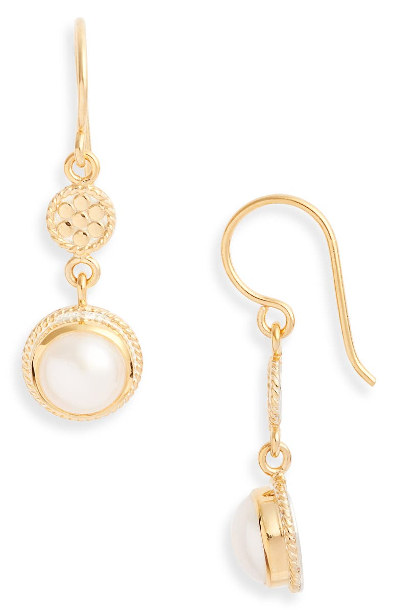 ANNA BECK Genuine Pearl Double Drop Earrings, Main, color, GOLD/ PEARL