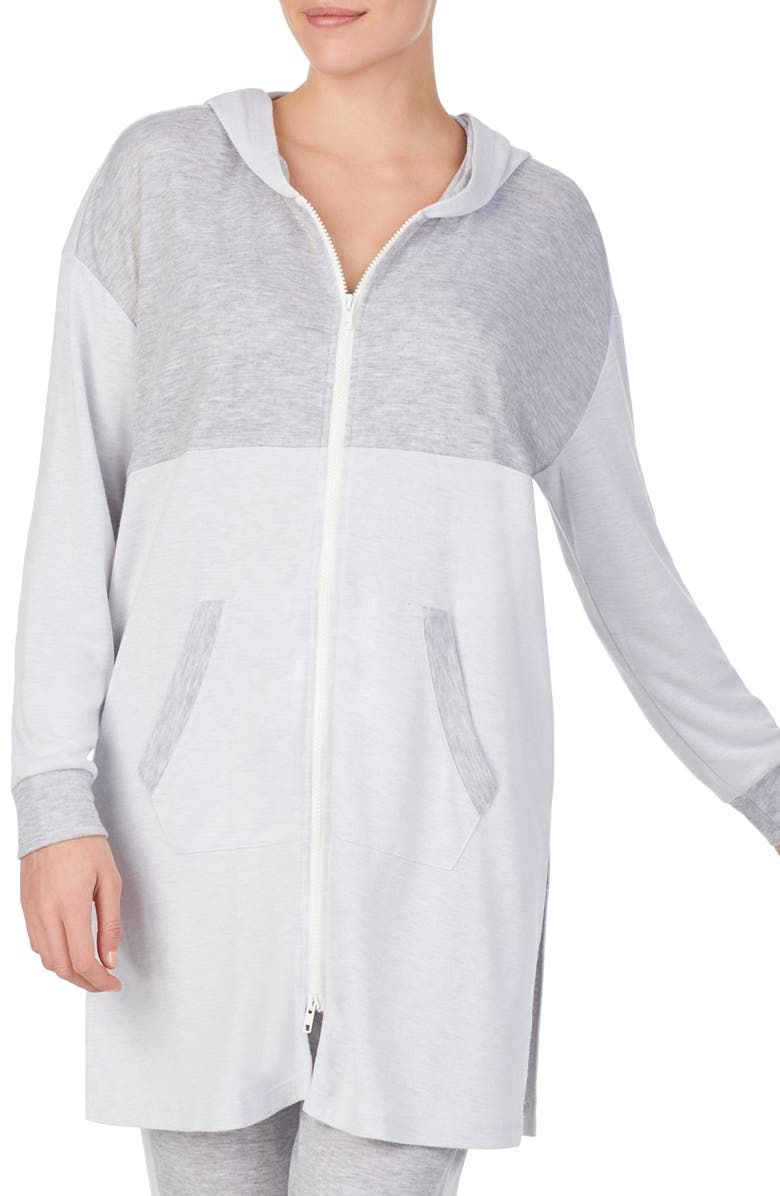 REFINERY29 Double Knit Full Zip Hoodie, Main, color, MOONSTONE