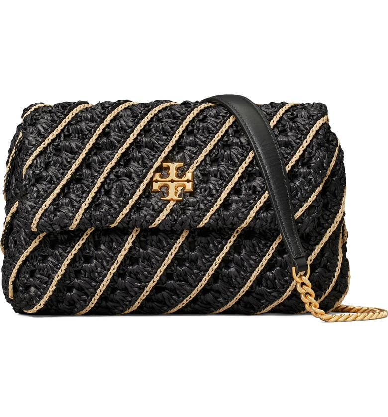 TORY BURCH Small Kira Crochet Shoulder Bag, Main, color, Black