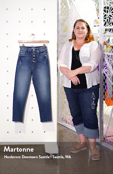 Alicia Button Fly High Waist Crop Mom Jeans, sales video thumbnail