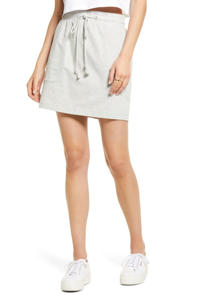 OPEN EDIT Stretch Cotton Pull-On Skirt, Main, color, GREY LIGHT HEATHER