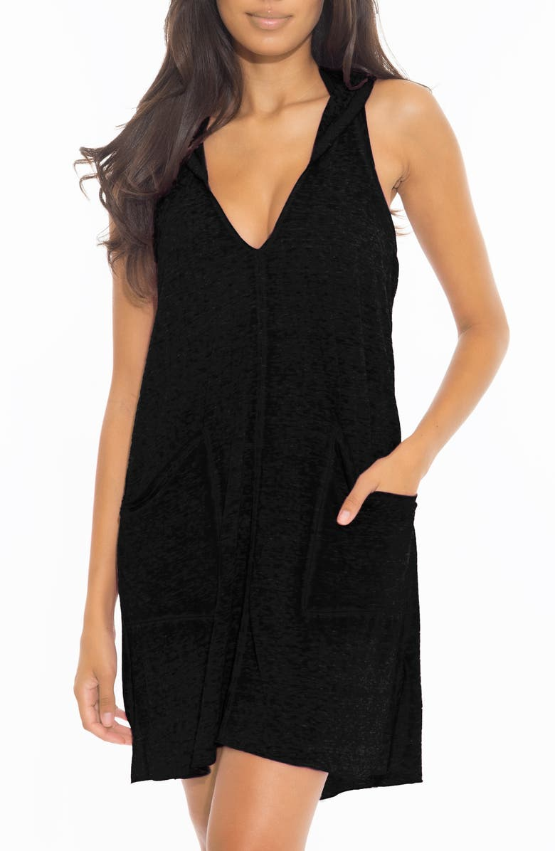 BECCA Beach Date Hooded Cover-Up Dress, Main, color, BLACK