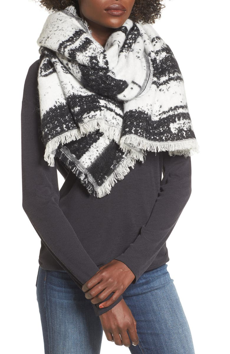 SOLE SOCIETY Textured Blanket Scarf, Main, color, BLACK WHITE COMBO