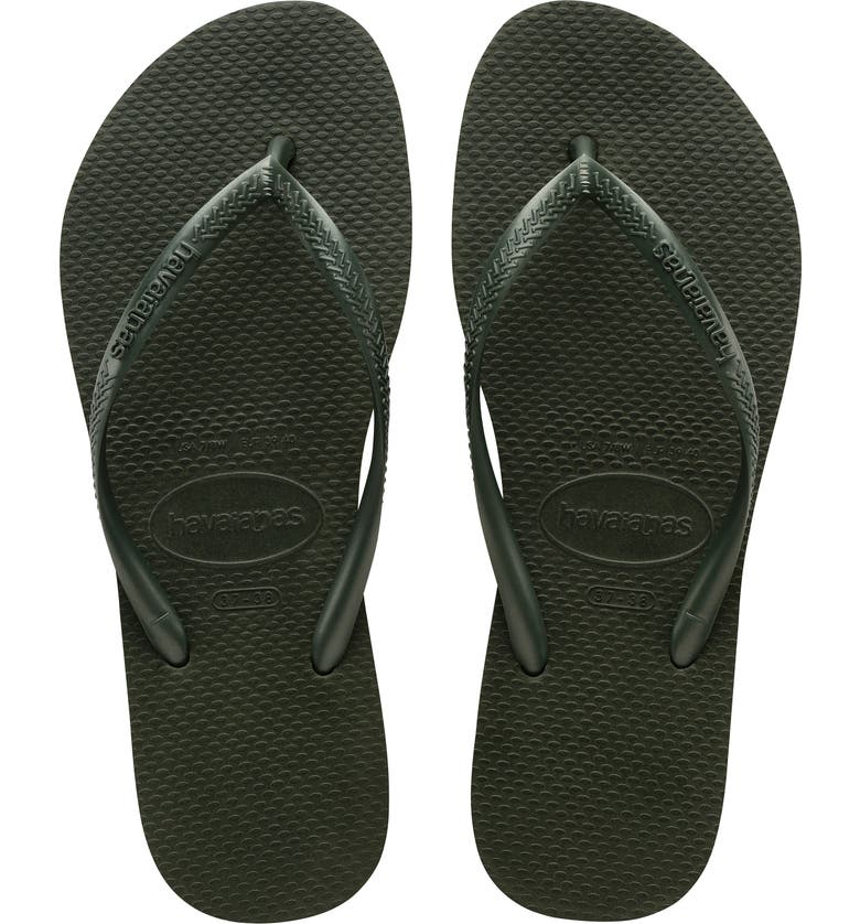 HAVAIANAS Slim Flip Flop, Main, color, GREEN OLIVE