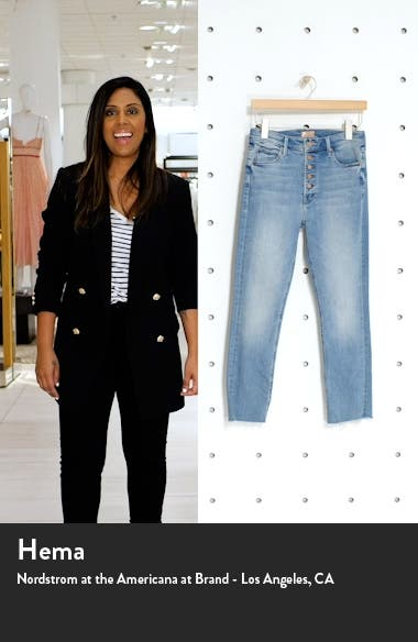 The Pixie Dazzler Raw Hem High Waist Ankle Jeans, sales video thumbnail