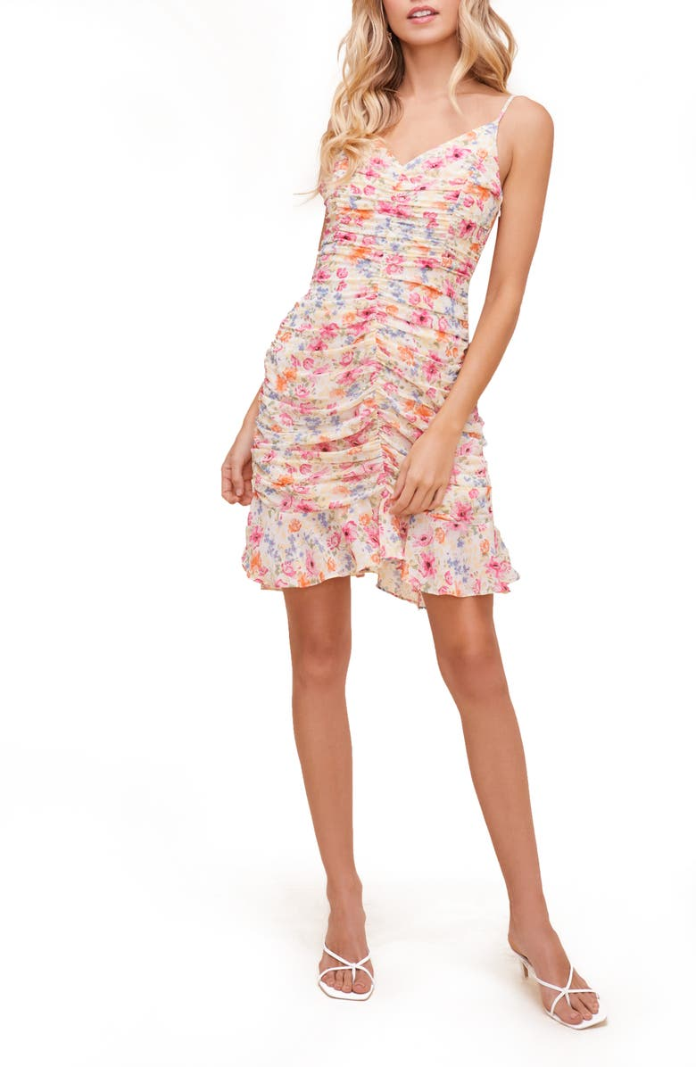ASTR THE LABEL Ruched Cami Minidress, Main, color, PINK MULTI FLORAL