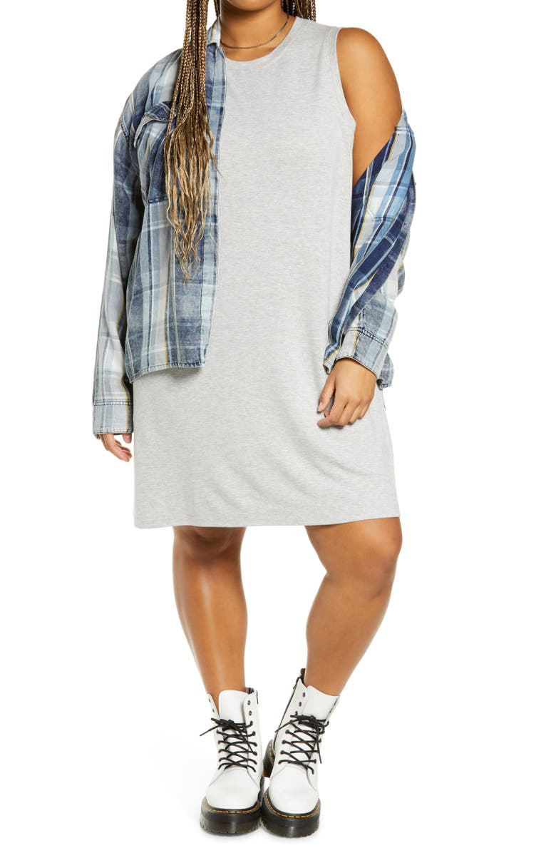 BP. French Terry Tank Dress, Main, color, GREY LIGHT HEATHER