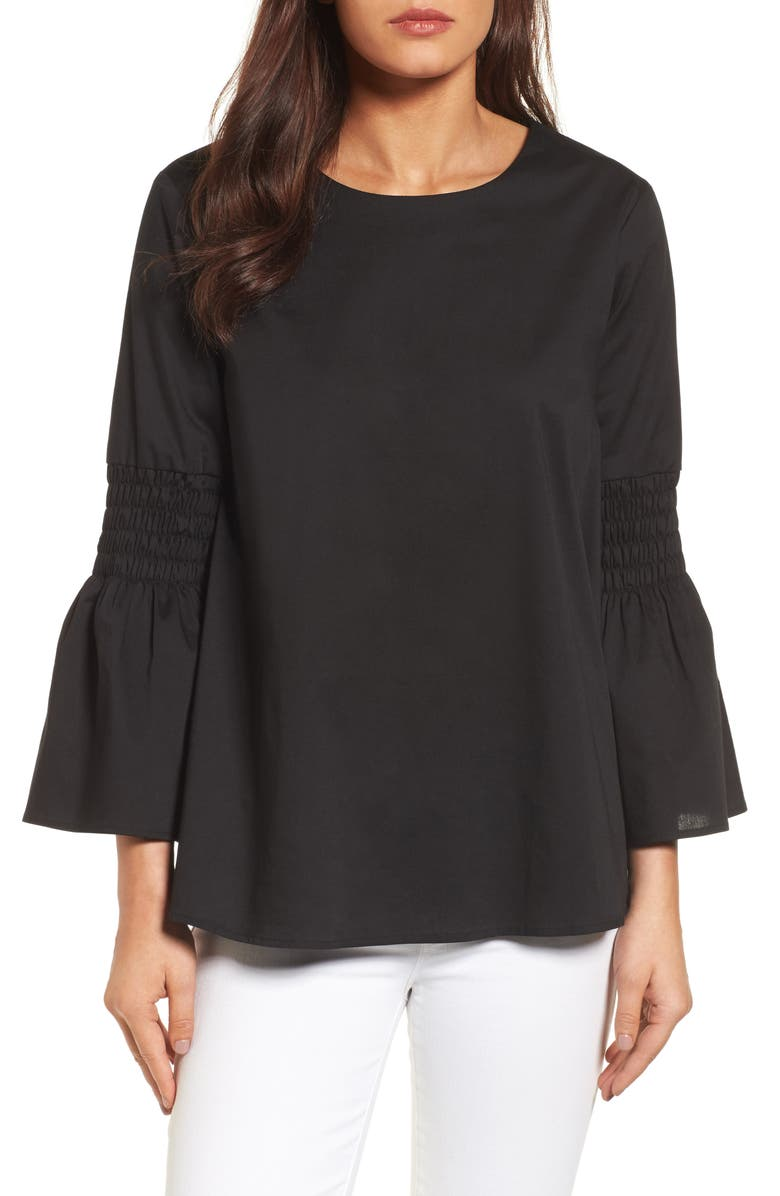 HALOGEN<SUP>®</SUP> Bow Back Bell Sleeve Top, Main, color, Black