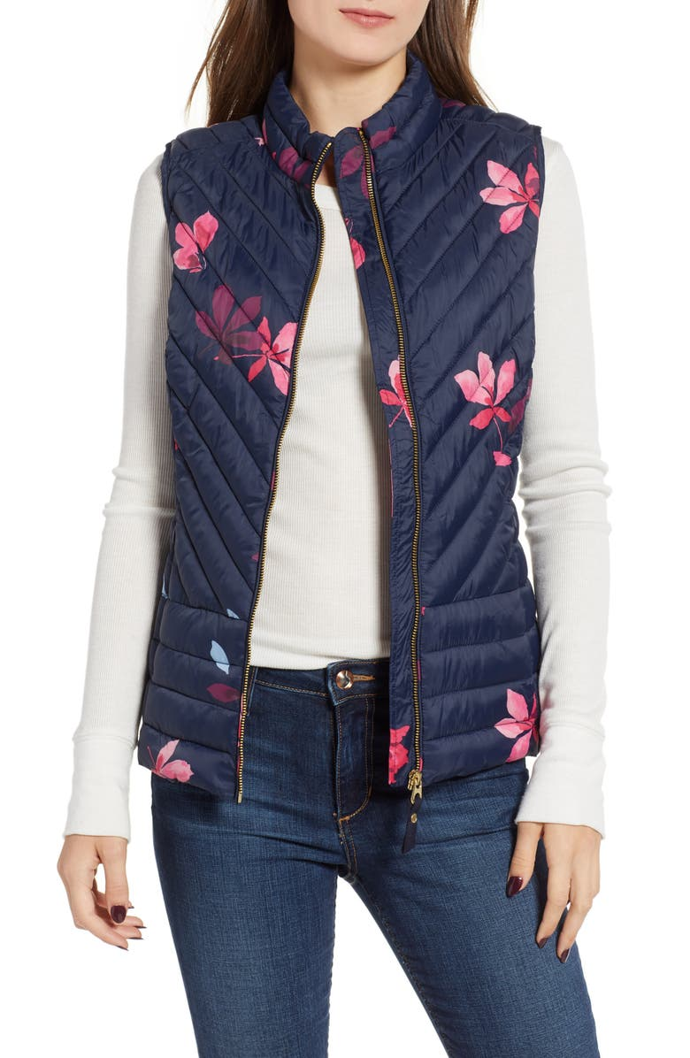 JOULES Printed Chevron Quilted Vest, Main, color, 407