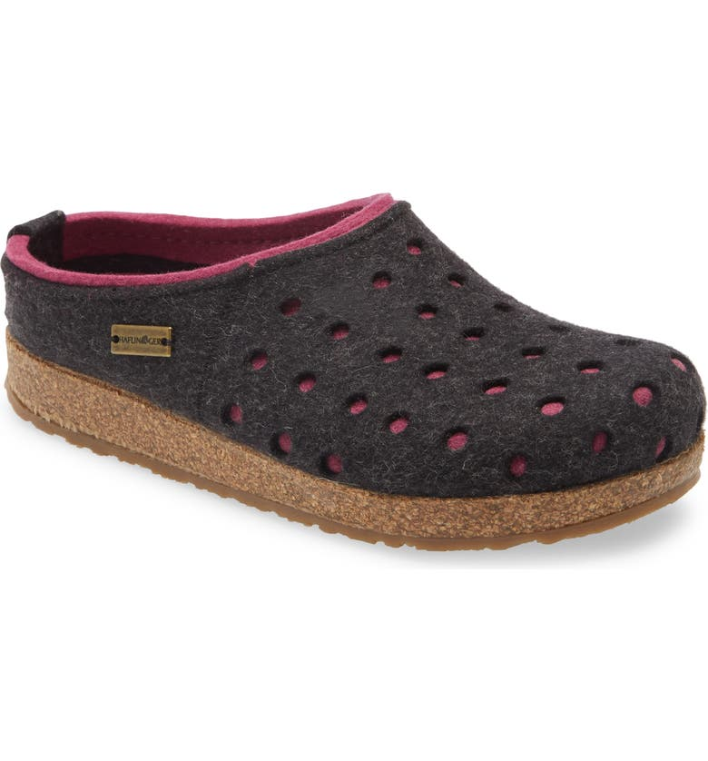 HAFLINGER Holly Wool Slipper, Main, color, CHARCOAL/ PINK WOOL