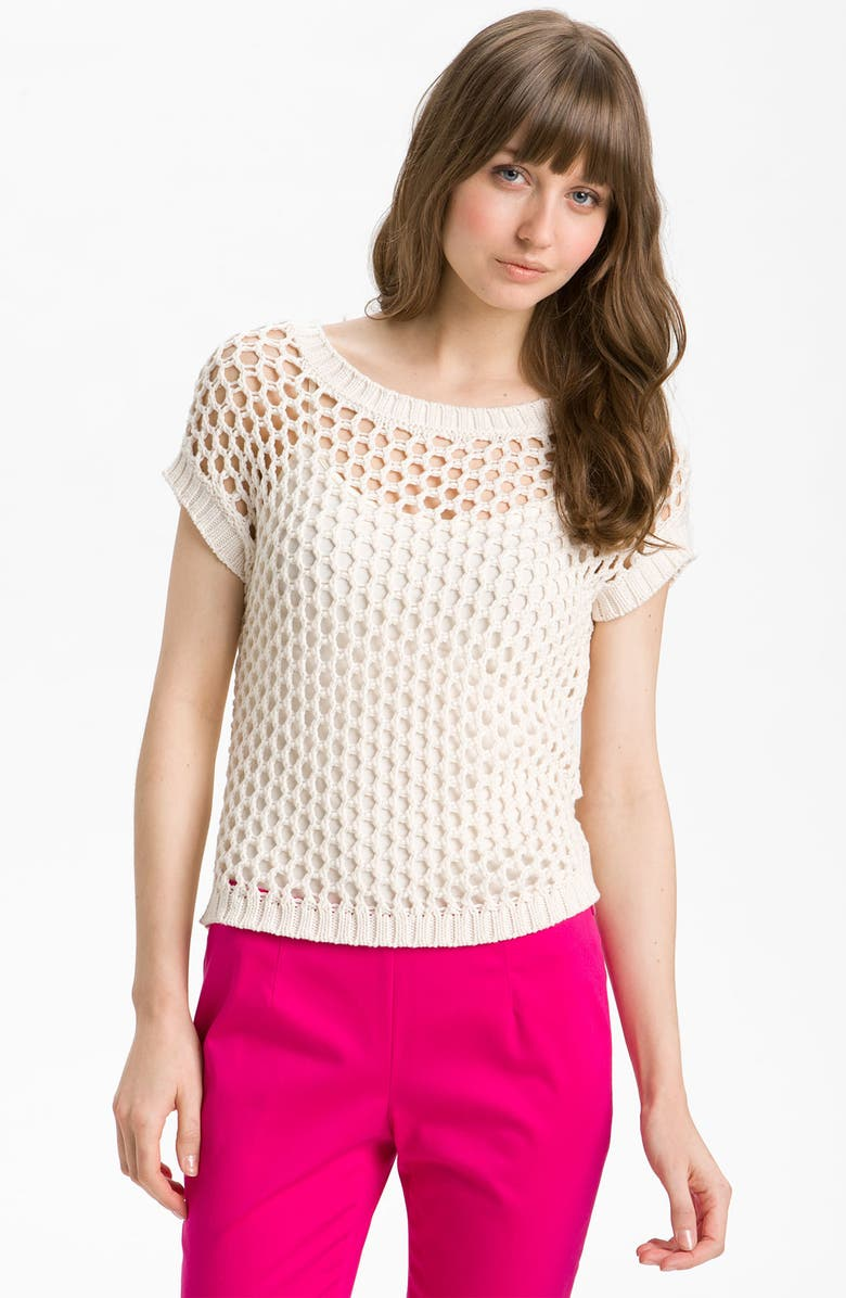 VINCE CAMUTO Open Mesh Stitch Sweater, Main, color, IVORY CREAM