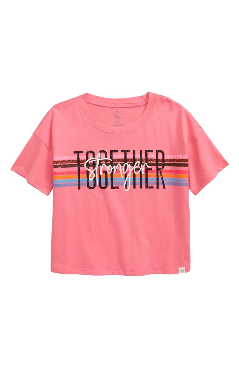 TREASURE & BOND Kids' Crop Graphic Tee, Main, color, PINK STRAWBERRY TOGETHER