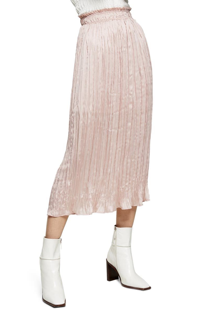 TOPSHOP Pleated Crushed Satin Skirt, Main, color, PINK