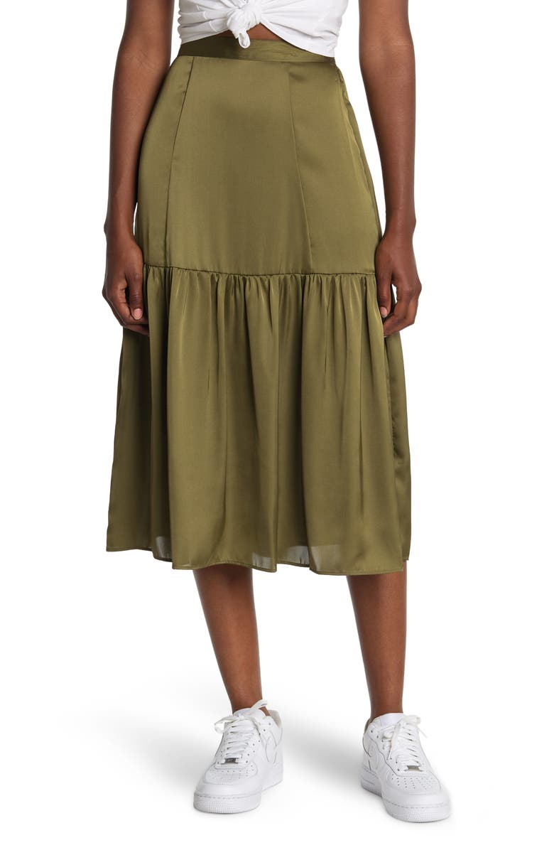 TOPSHOP Tiered Satin Midi Skirt, Main, color, OLIVE