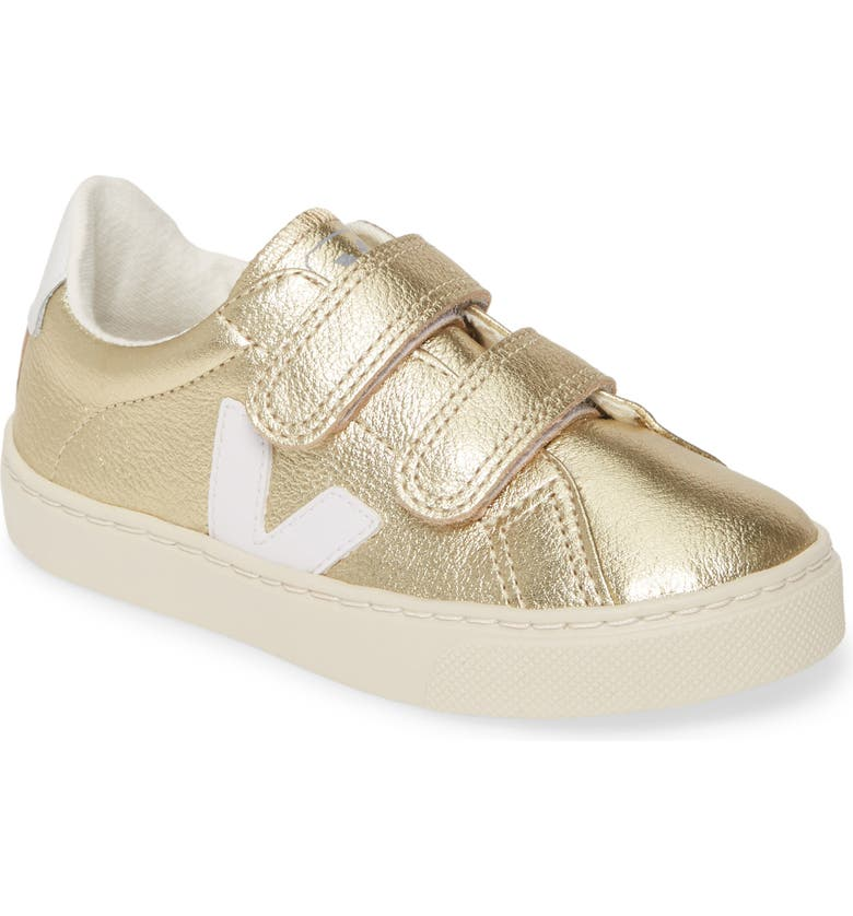VEJA Esplar Double Strap Sneaker, Main, color, GOLD WHITE/ WHITE