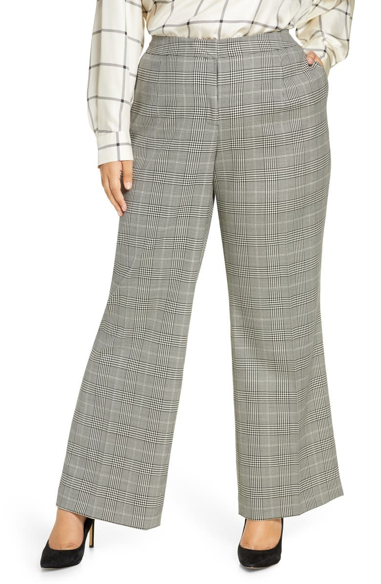 LAFAYETTE 148 NEW YORK Dalton Houndstooth Plaid Stretch Wool Wide Leg Pants, Main, color, 001