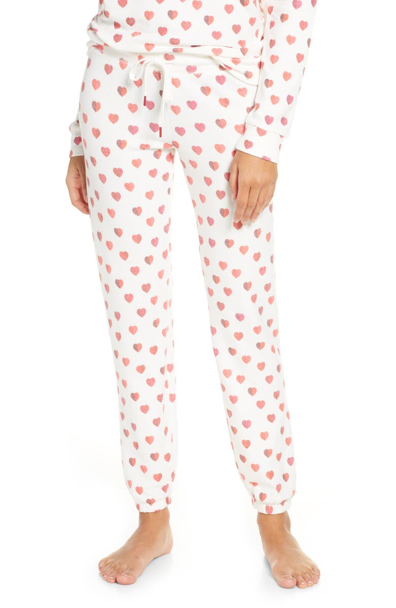 PJ SALVAGE Heart Print Jogger Pajama Pants, Main, color, 900
