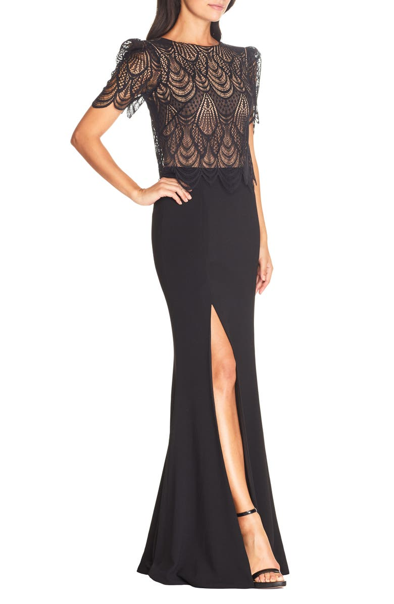 DRESS THE POPULATION Ramona Lace Popover Bodice Trumpet Gown, Main, color, 001