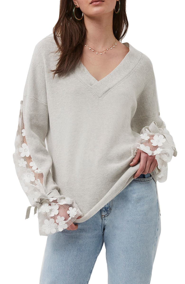 FRENCH CONNECTION Caballo Sweater, Main, color, DOVE GREY-WINTER WHITE