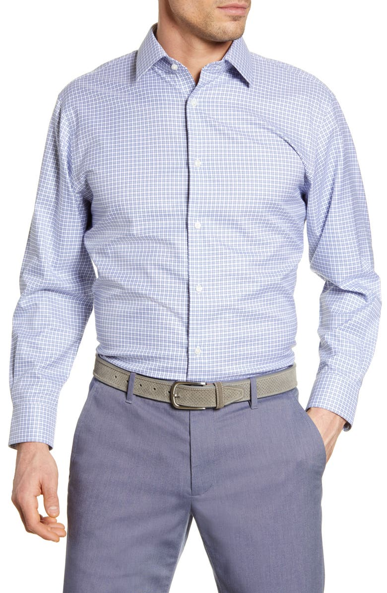 NORDSTROM MEN'S SHOP Traditional Fit Non-Iron Check Dress Shirt, Main, color, 420
