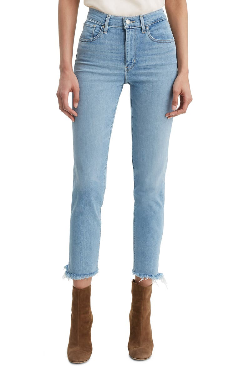 LEVI'S<SUP>®</SUP> 724<sup>™</sup> High Waist Fray Crop Straight Leg Jeans, Main, color, 450