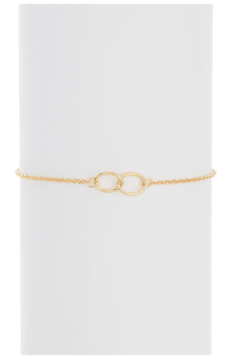 ADORNIA 14K Gold Plated Sterling Silver Interlocking Circles Bracelet, Main, color, YELLOW
