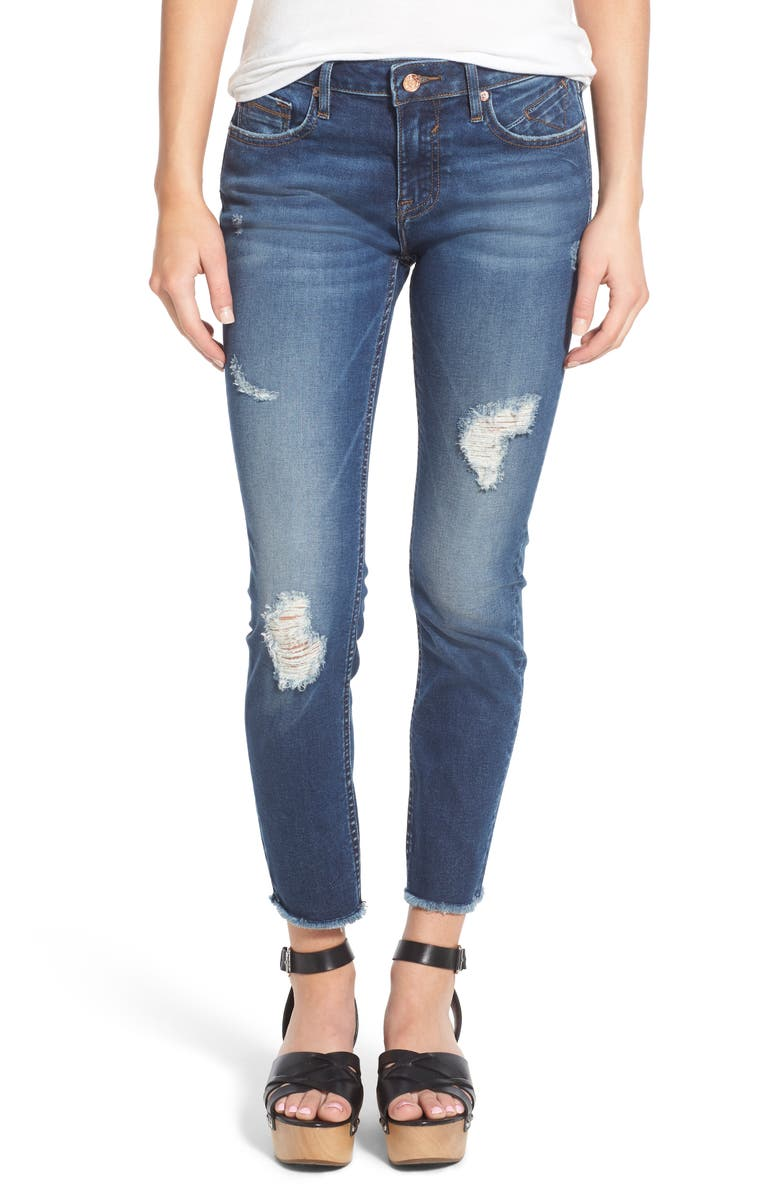 VIGOSS Jagger Distressed Raw Hem Skinny Jeans, Main, color, MED WASH