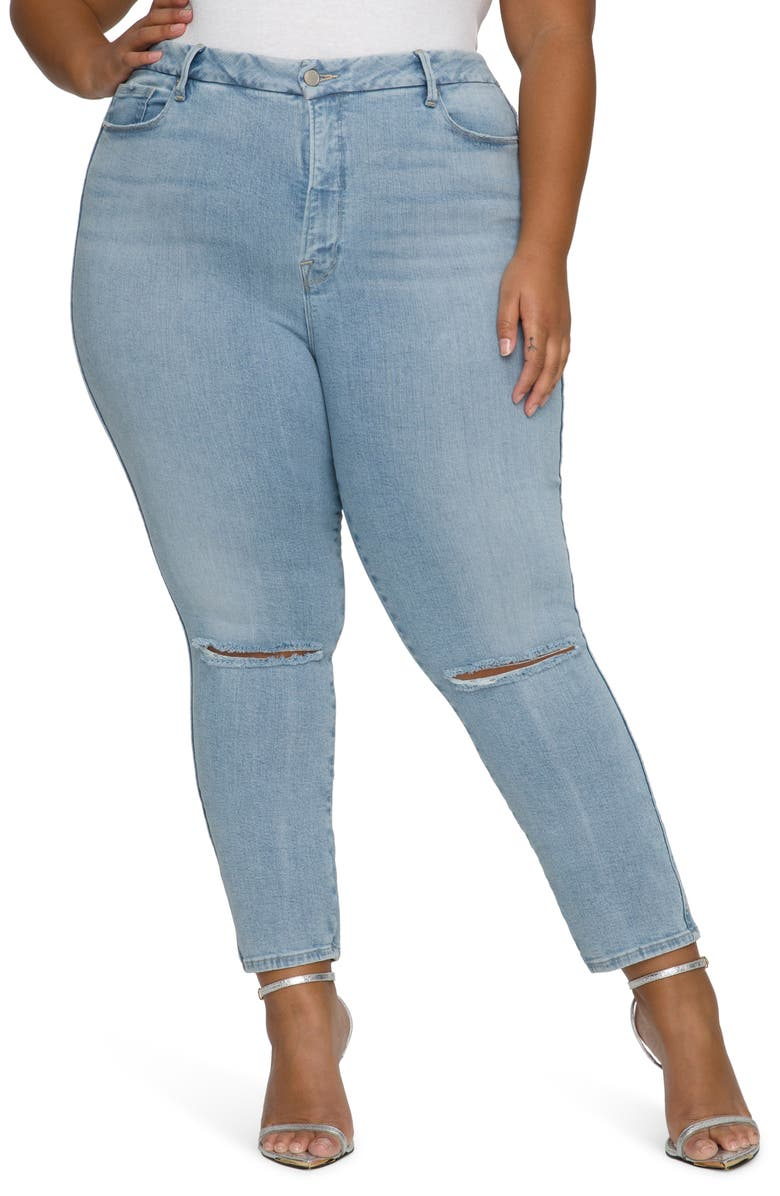 GOOD AMERICAN Good Curve Ripped High Waist Crop Skinny Jeans, Main, color, BLUE638