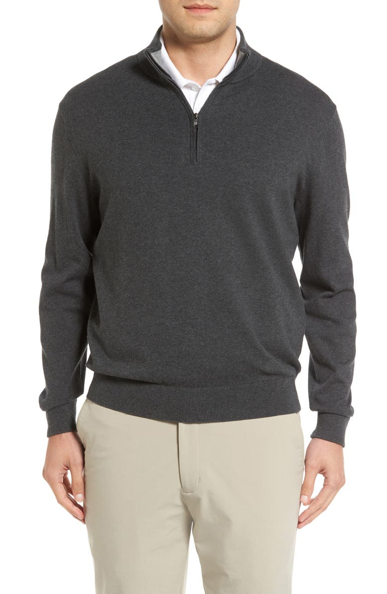 CUTTER & BUCK Lakemont Half Zip Sweater, Main, color, CHARCOAL HEATHER