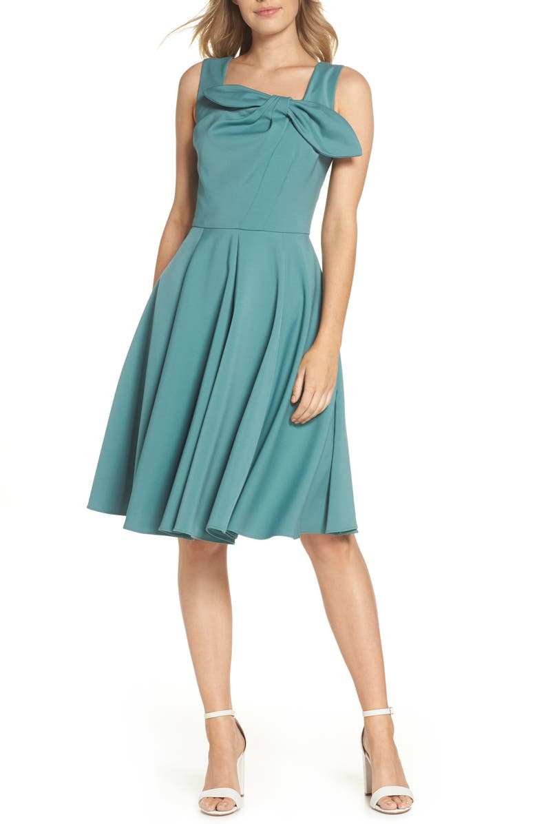 GAL MEETS GLAM COLLECTION Zoe Bow Neckline Fit & Flare Dress, Main, color, 340