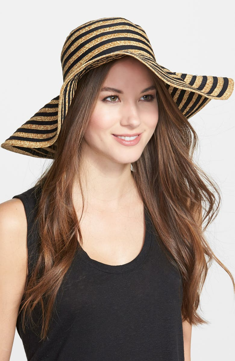 AUGUST HAT 'Mix It Up' Floppy Straw Hat, Main, color, BLACK/ NATURAL