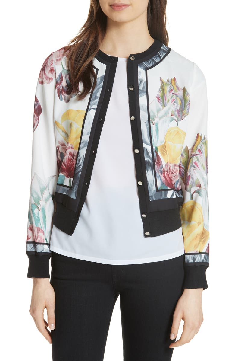 TED BAKER LONDON Olyviaa Tranquility Woven Jacket, Main, color, 110
