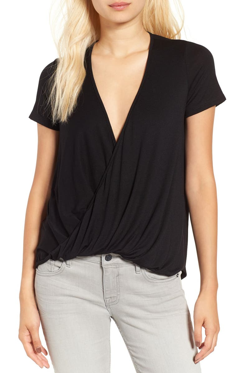 ALL IN FAVOR Cross Front Tee, Main, color, BLACK