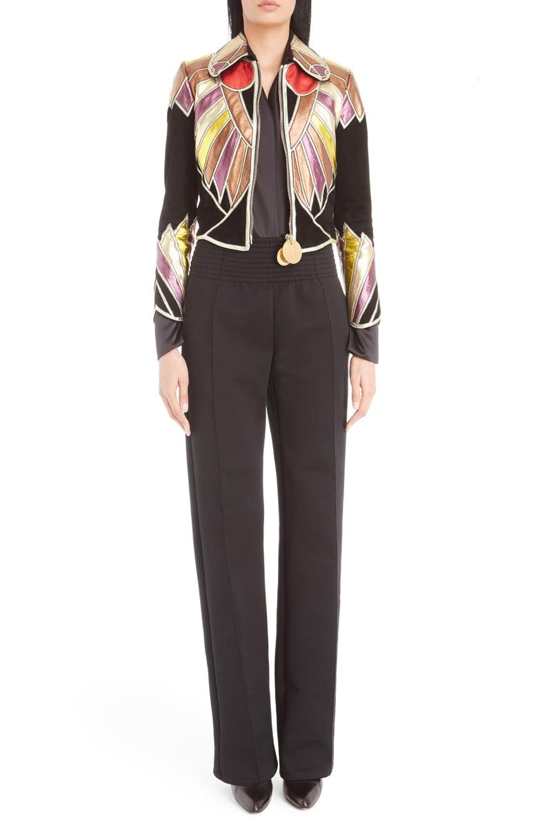 GIVENCHY Leather Patchwork Crop Suede Jacket, Main, color, BLACK MULTI