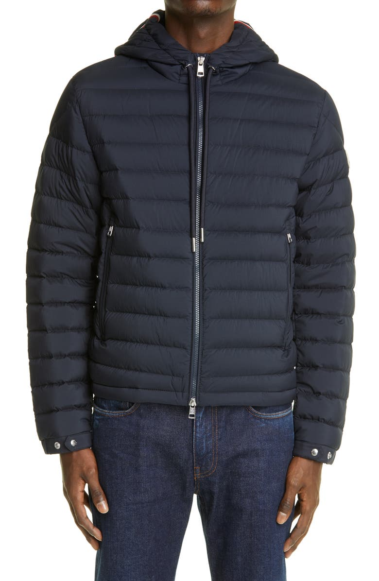 MONCLER Hooded Down Puffer Coat, Main, color, NAVY