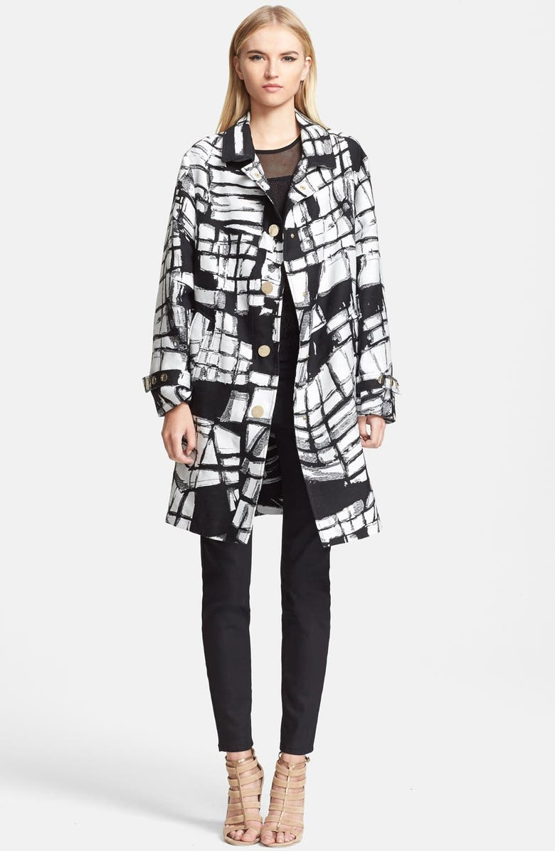 VERSACE COLLECTION Print Oversize Coat, Main, color, 017