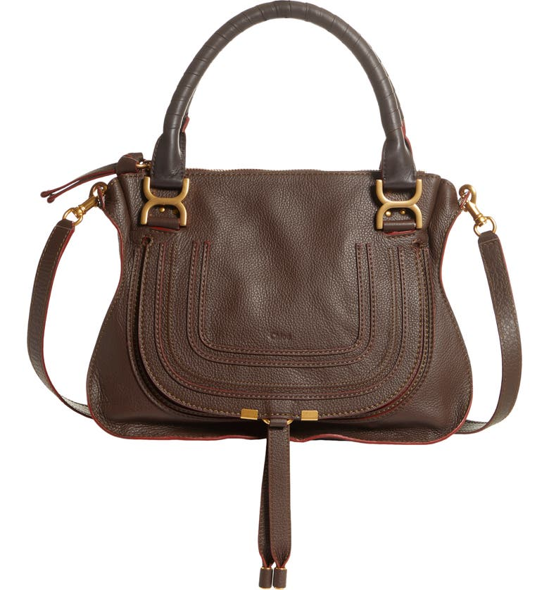 CHLOÉ Medium Marcie Calfskin Leather Satchel, Main, color, ENIGMATIC BROWN