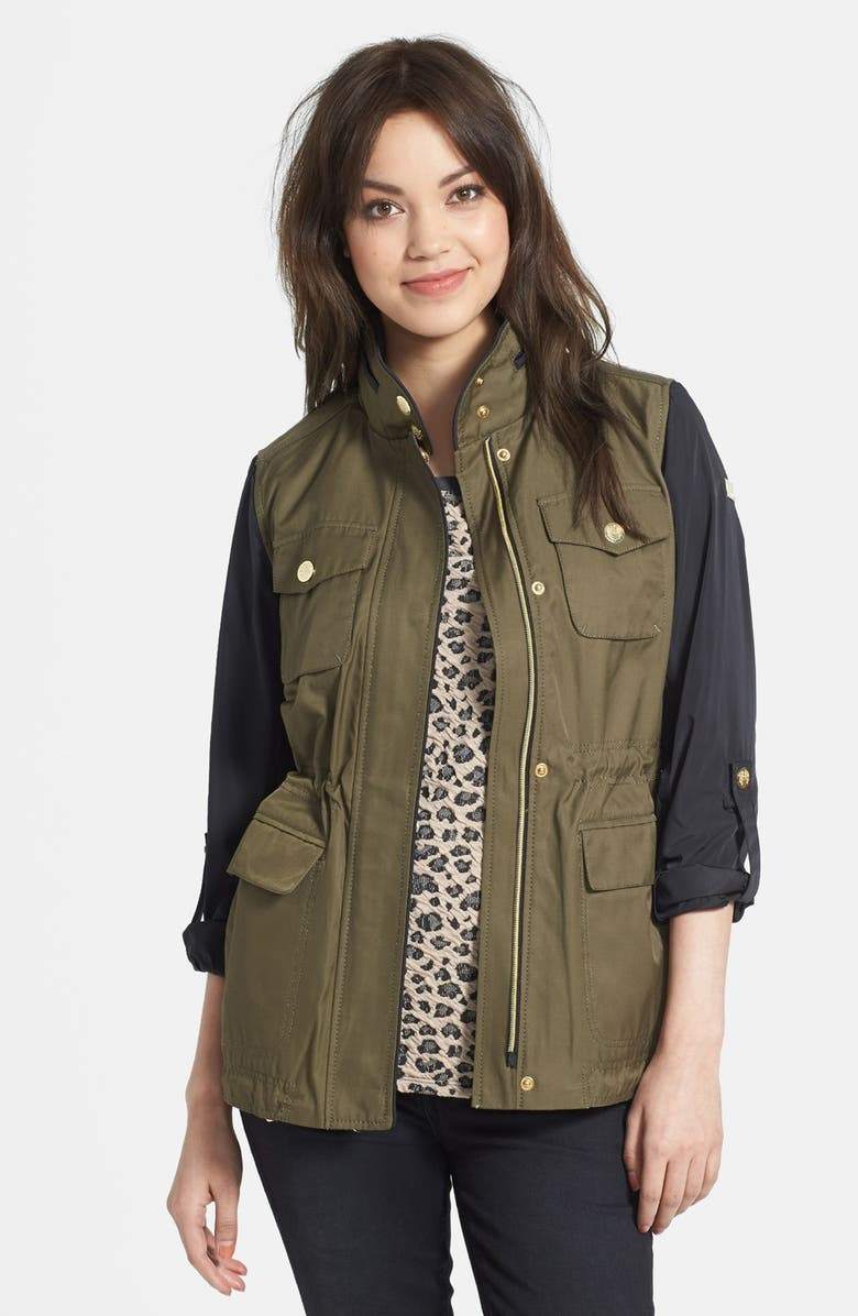 VINCE CAMUTO Two-Tone Anorak, Main, color, OLIVE BLACK