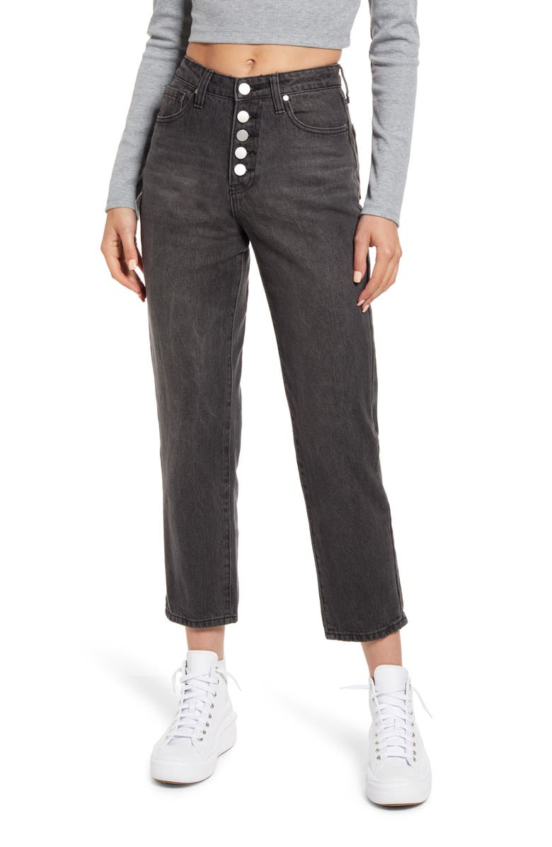 BP. Button Fly Mom Jeans, Main, color, FADED BLACK WASH