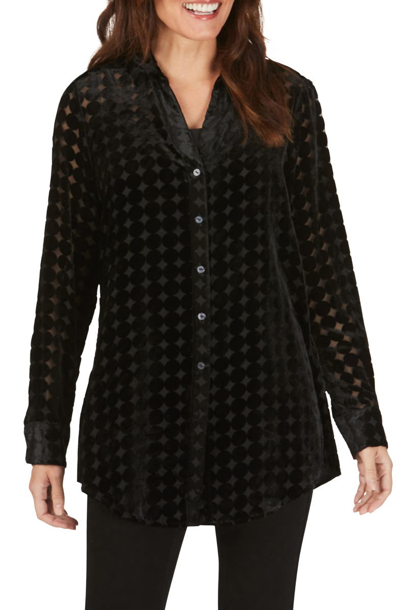 FOXCROFT Faith Velvet Burnout Tunic Shirt, Main, color, 001
