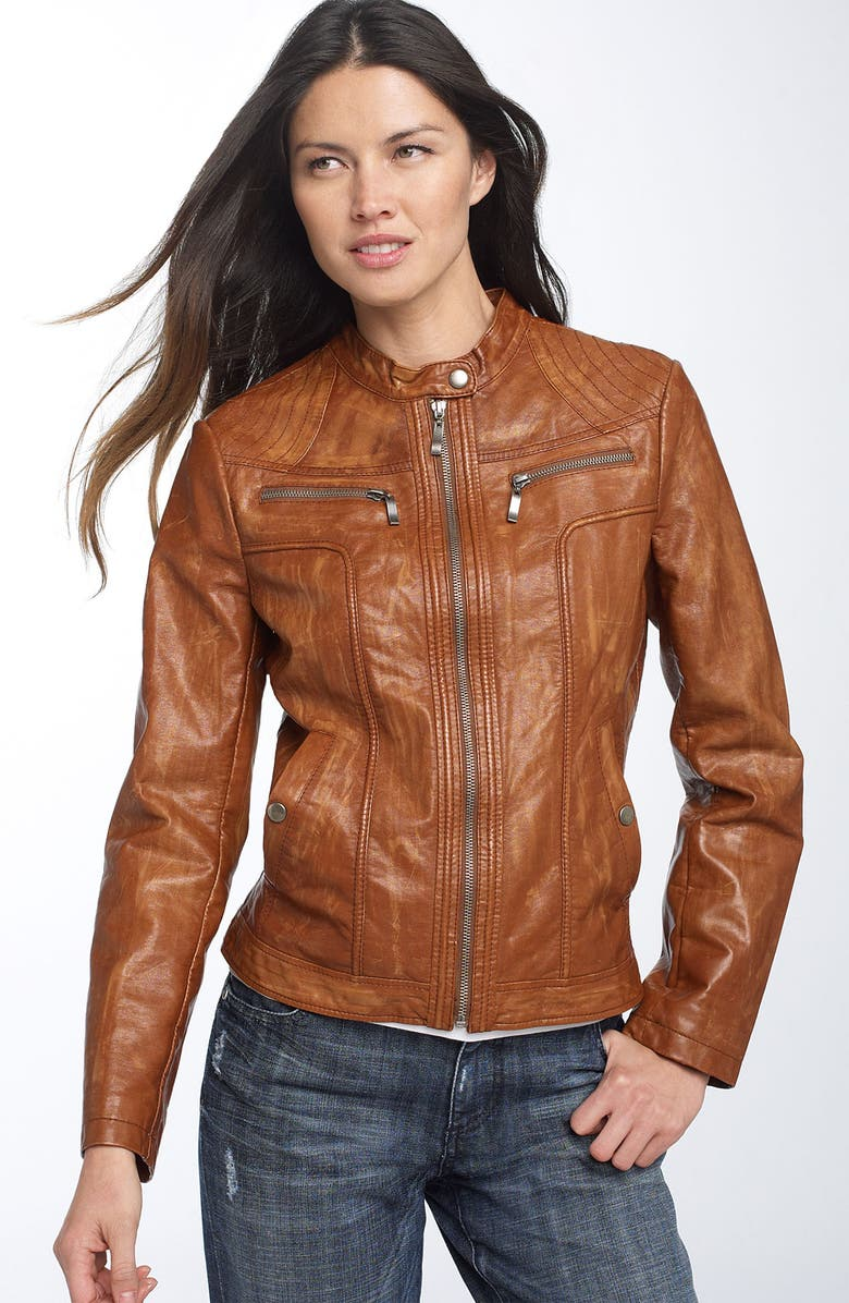 ASHLEY B Distressed Faux Leather Jacket, Main, color, 223