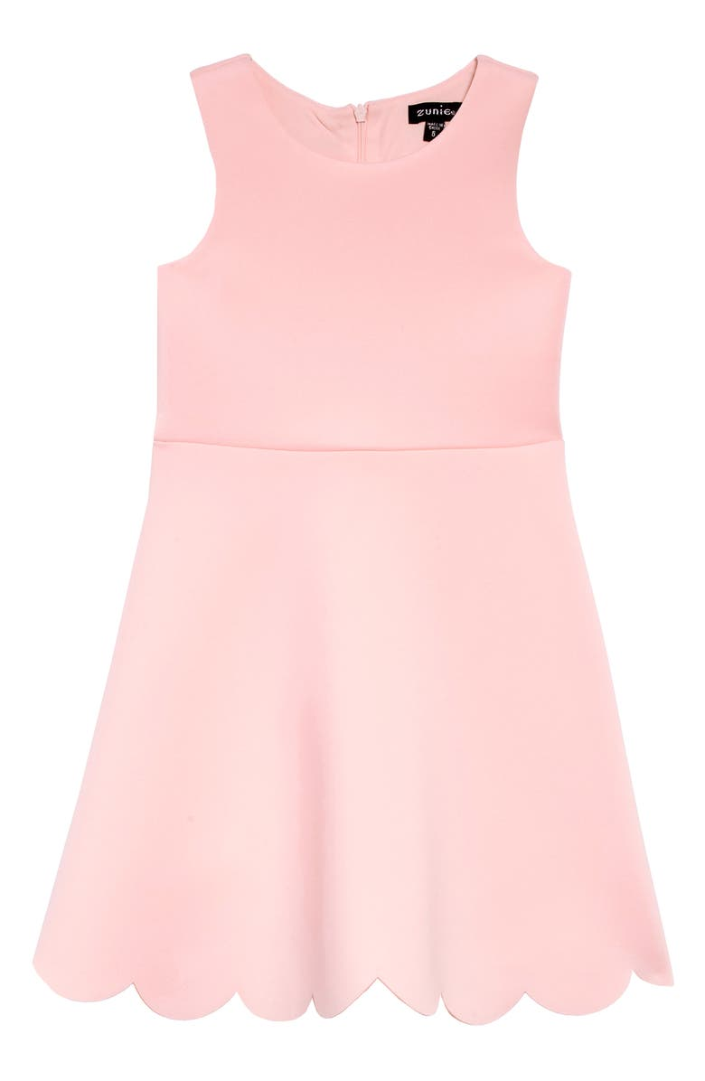 ZUNIE Scallop Hem Scuba Dress, Main, color, BLUSH