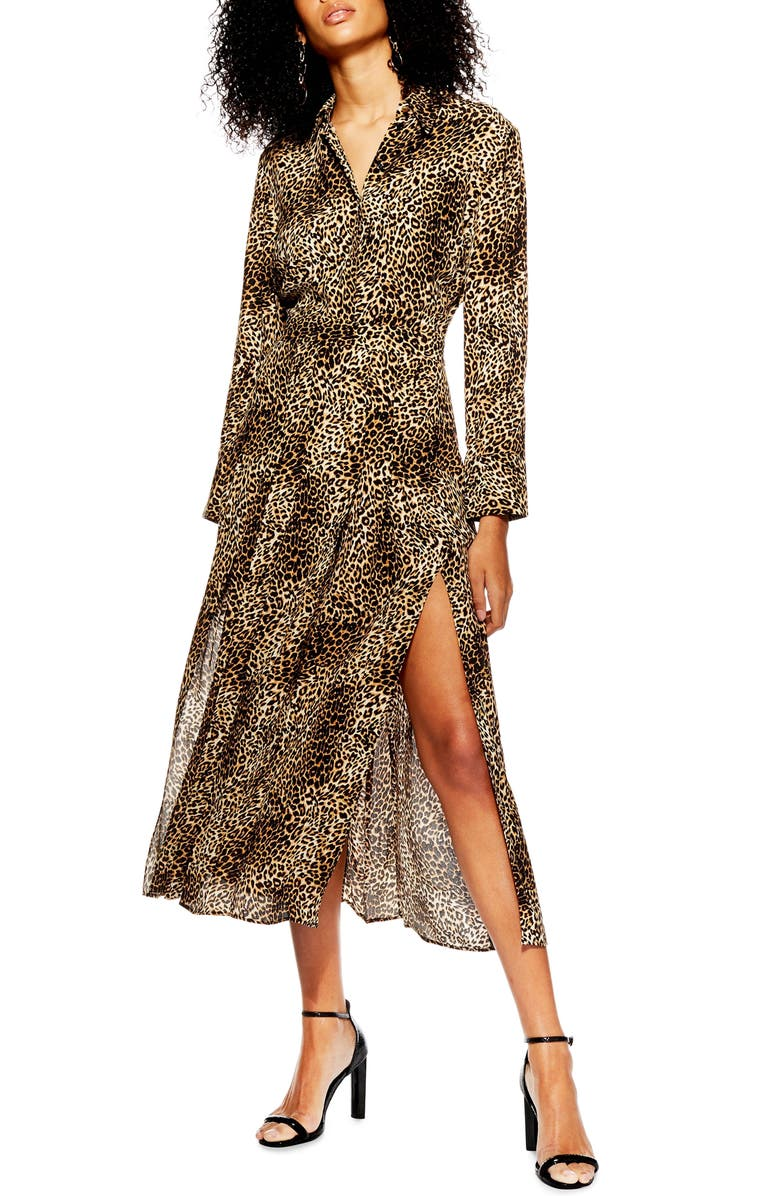 TOPSHOP Print Pleated Shirtdress, Main, color, 200