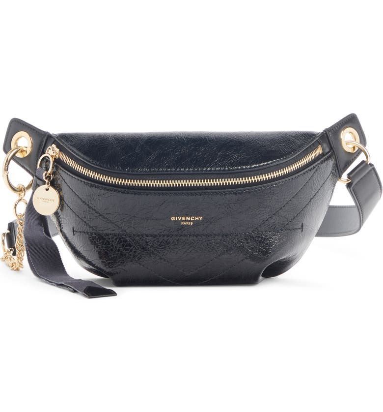 GIVENCHY Quilted Leather Belt Bag, Main, color, 001