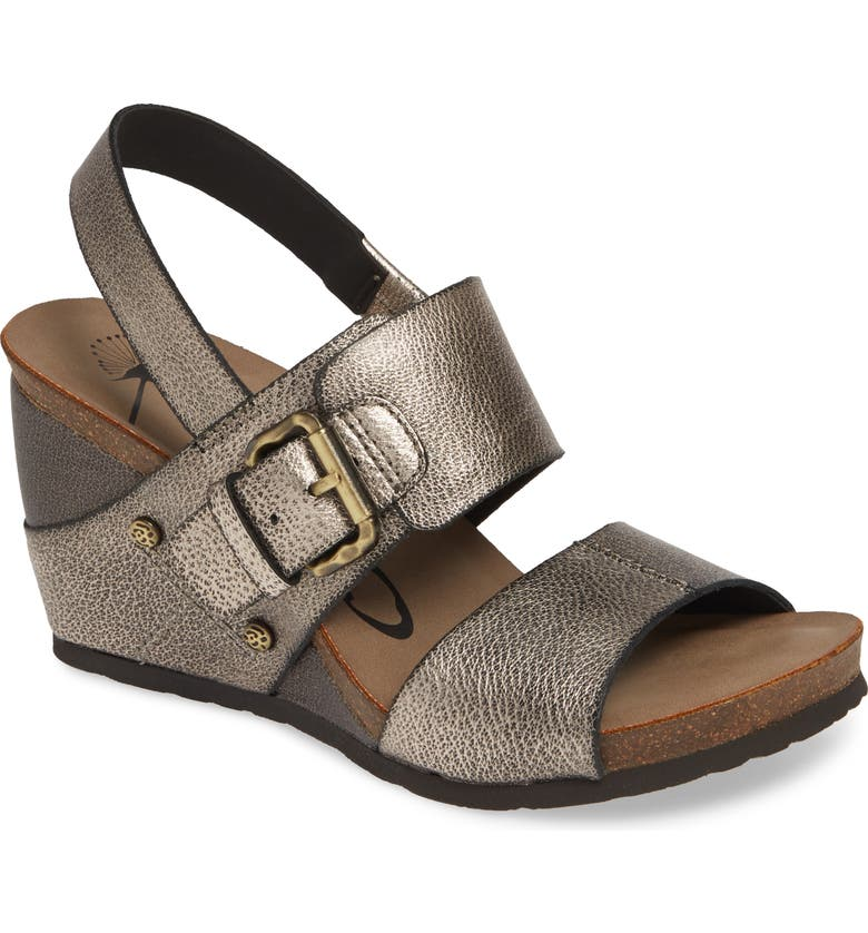 OTBT Overnight Wedge Sandal, Main, color, GREY PEWTER LEATHER