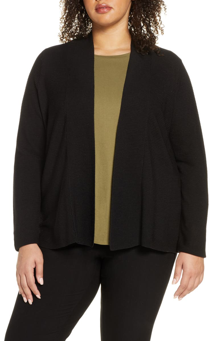 EILEEN FISHER Horizontal Ribbed Open Front Cardigan, Main, color, 001