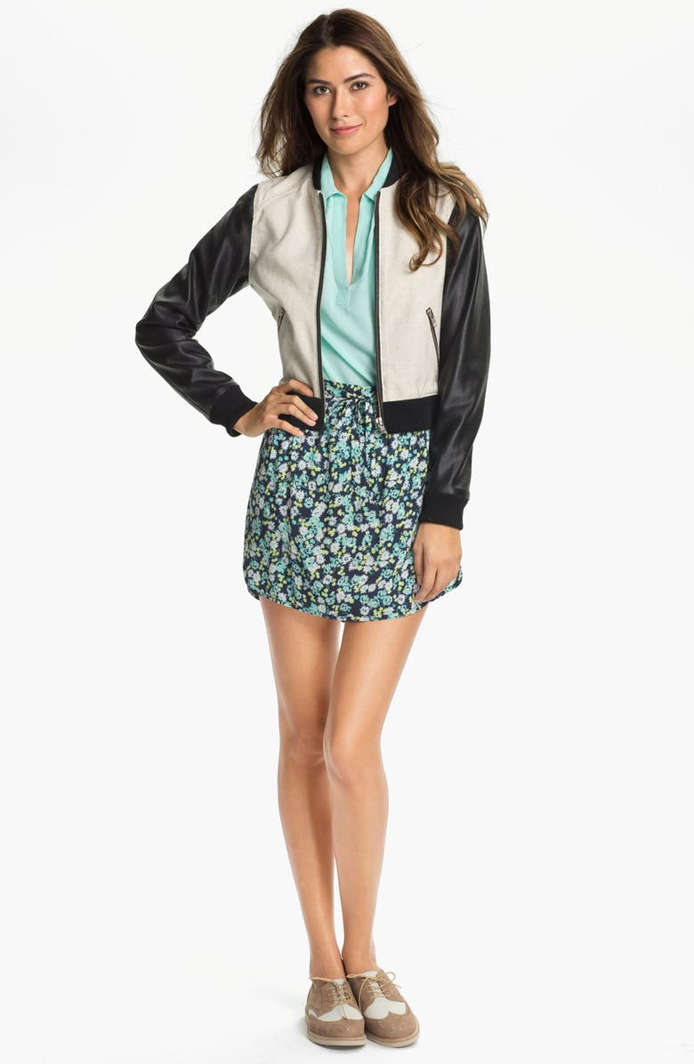 TWO BY VINCE CAMUTO Linen & Faux Leather Baseball Jacket, Main, color, RICH BLACK
